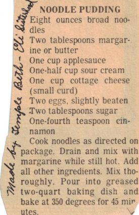 Noodle Pudding Recipe Clipping | RecipeCurio.com