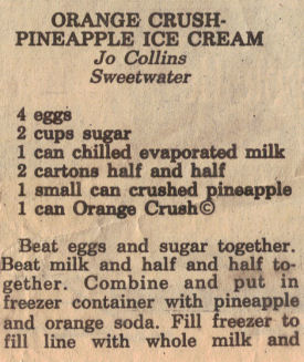 Orange Crush-Pineapple Ice Cream Recipe Clipping