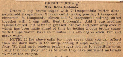 Vintage Clipping For Raisin Pudding Recipe