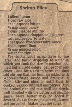 Shrimp Pilau Recipe Clipping