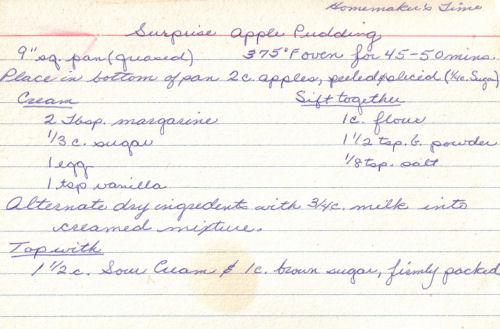 Handwritten Recipe For Surprise Apple Pudding