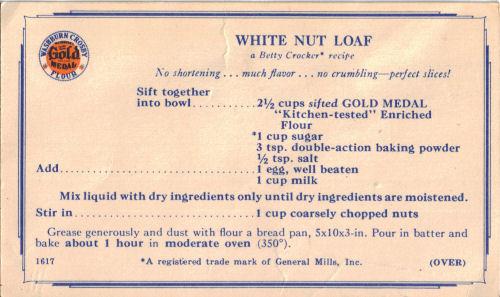 White Nut Loaf Recipe Card 171 Recipecurio Com