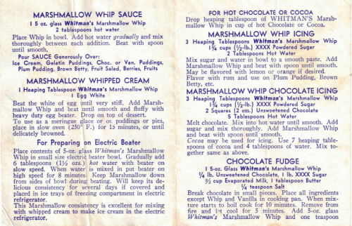 Whitman's Marshmallow Whip Recipes