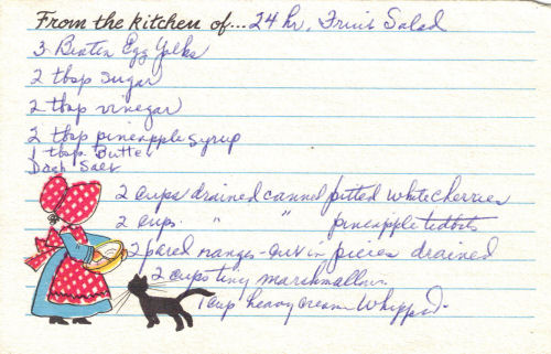 Handwritten Recipe for 24 Hour Fruit Salad