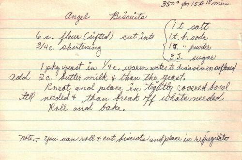 Handwritten Recipe For Angel Biscuits