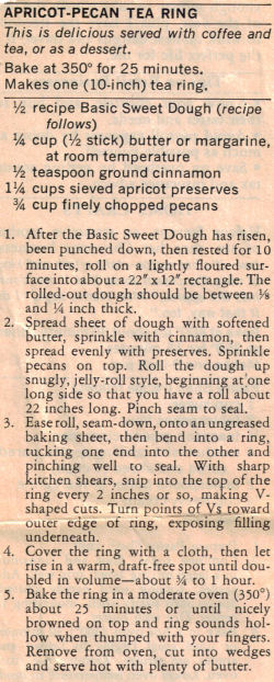 Recipe Clipping For Apricot-Pecan Tea Ring