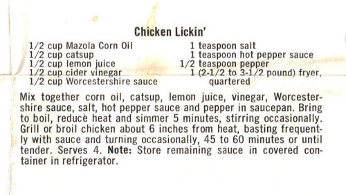 Recipe For Chicken Lickin