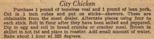 City Chicken Recipe Clipping