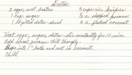 Handwritten Recipe For Date Balls