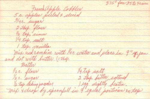 RecipeCurio.comFrench Apple Cobbler Recipe – Handwritten ...