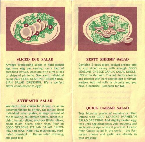 Sliced Egg Salad, Antipasto Salad, Zesty Shrimp Salad & Quick Caesar Salad