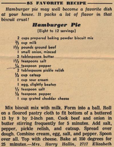 Recipe Clipping For Hamburger Pie