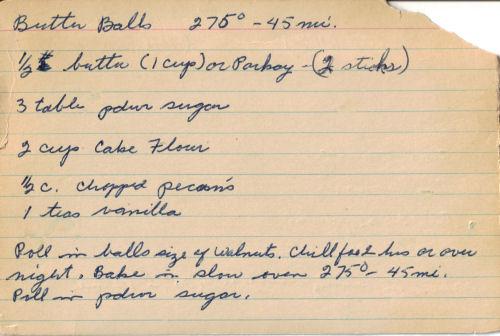 Handwritten Recipe For Butter Balls