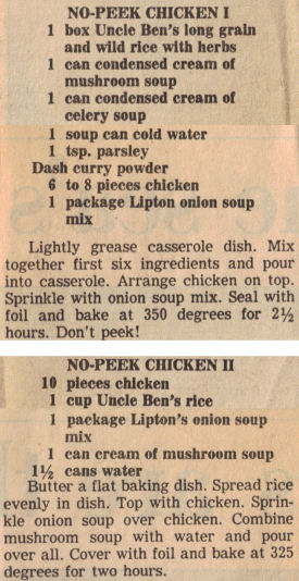 Recipe Clippings For No Peek Chicken