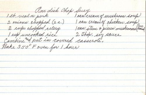 Handwritten Recipe For One Dish Chop Suey
