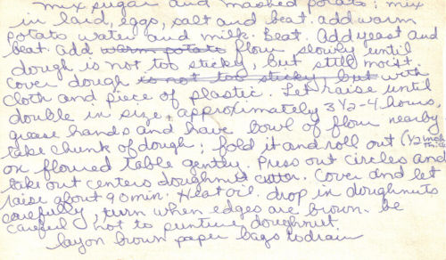 Back Of Handwritten Recipe For Potato Fastnachts (Raised)
