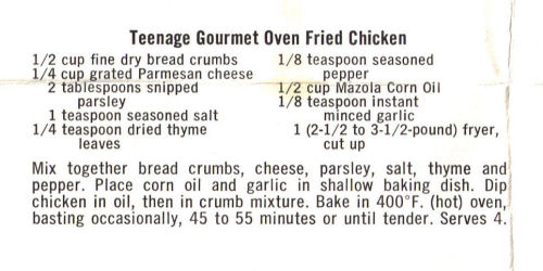 Recipe For Teenage Gourmet Oven Fried Chicken