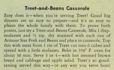 Recipe Clipping For Treet And Beans Casserole