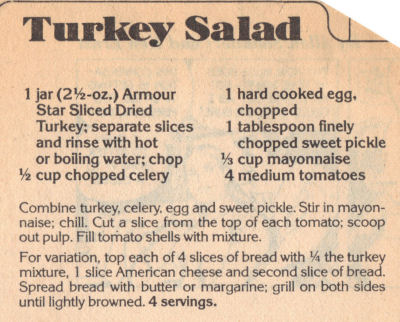 Recipe Clipping For Turkey Salad