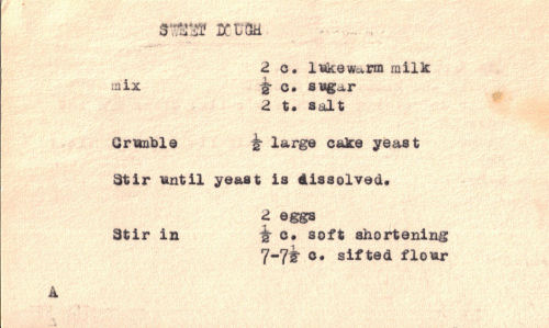 Typed Recipe Card For Sweet Dough