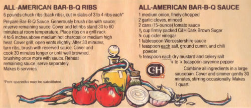 Recipe Clipping For All American BBQ Ribs And Sauce