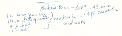 Baked Rice Recipe - Handwritten