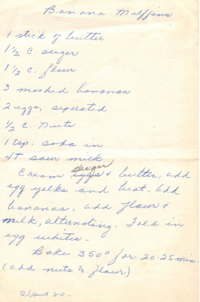 Handwritten Recipe For Banana Muffins