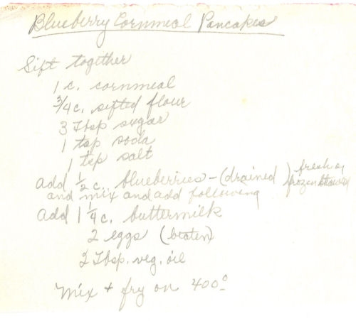 Handwritten Recipe For Blueberry Cornmeal Pancakes