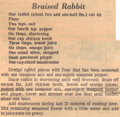 Vintage Recipe For Braised Rabbit