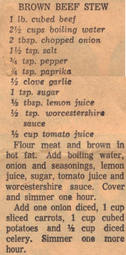 Vintage Recipe For Brown Beef Stew
