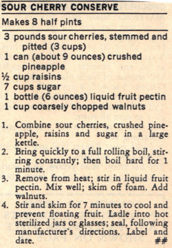 Recipe Clipping For Sour Cherry Conserve