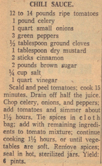 Recipe Clipping For Chili Sauce