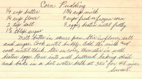 Handwritten Recipe For Corn Pudding