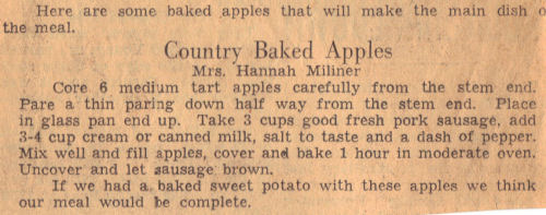 Vintage Recipe Clipping For Country Baked Apples