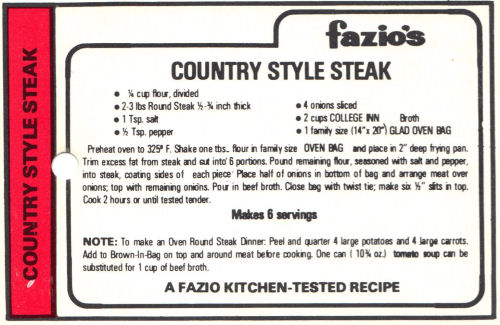Recipe Card For Country Style Steak