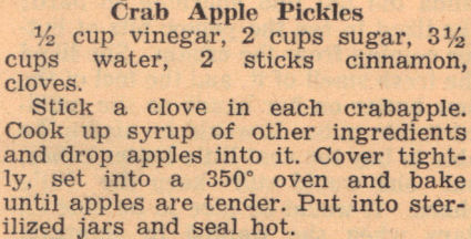 Recipe Clipping For Crab Apple Pickles