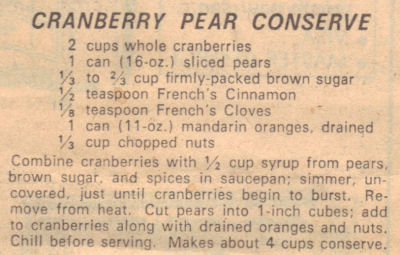 Recipe Clipping For Cranberry Pear Conserve