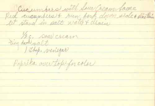 Handwritten Recipe For Cucumber Dish