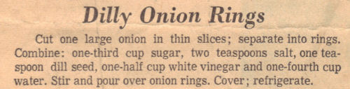 Clipping For Dilly Onion Rings