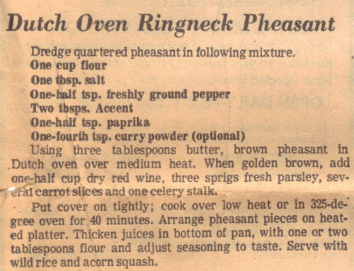 Recipe For Dutch Oven Ringneck Pheasant