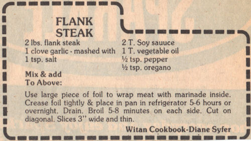 Recipe Clipping For Flank Steak