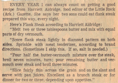 Vintage Recipe For Flank Steak
