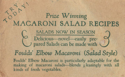 Vintage Recipe Sheet For Prize Winning Macaroni Salad