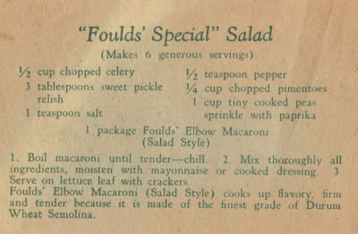 Fould's Vintage Recipe For Special Salad