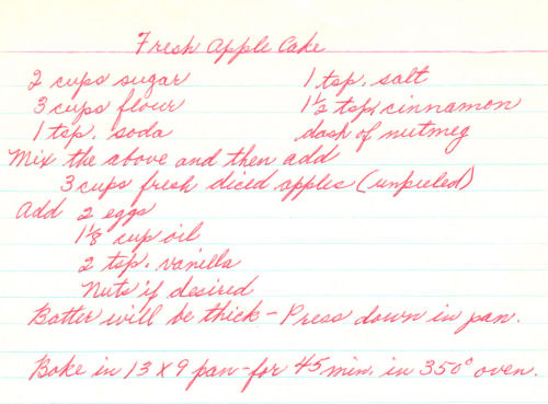 Handwritten Recipe For Fresh Apple Cake