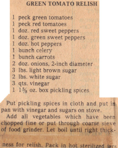 Canning recipe for green tomato relish vintage recipecurio vintage clipping for green tomato relish forumfinder Gallery