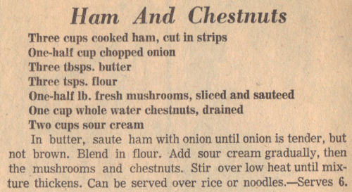 Vintage Recipe For Ham And Water Chestnuts