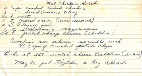 Handwritten Recipe For Hot Chicken Salad