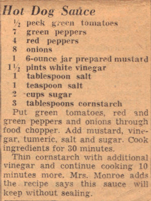 Vintage Recipe For Hot Dog Sauce