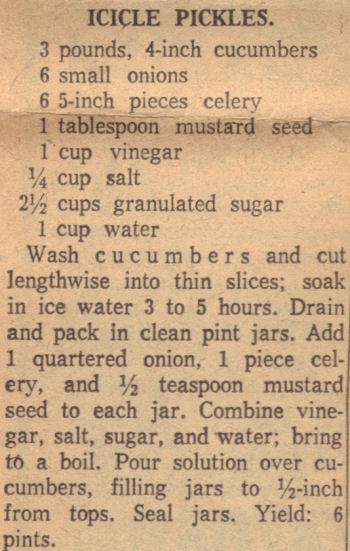 Vintage Recipe For Icicle Pickles